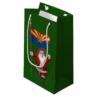 アリゾナの旗を持つ愛国心が強いサンタクロース スモールペーパーバッグ