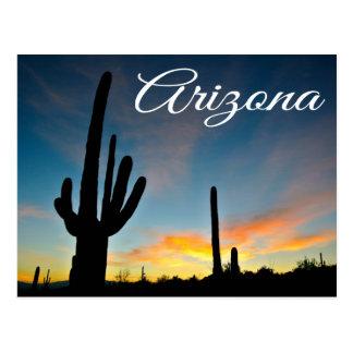アリゾナの日の出のサボテン及び砂漠旅行郵便はがき ポストカード