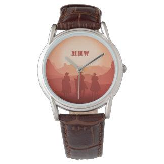 アリゾナの日没のカスタムなモノグラムの腕時計 腕時計