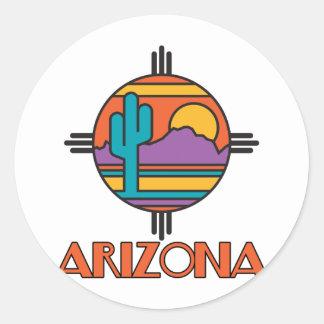 アリゾナの砂漠の曼荼羅 丸形シール・ステッカー