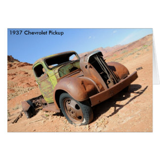 アリゾナの砂漠の1937年のChevyの積み込み カード
