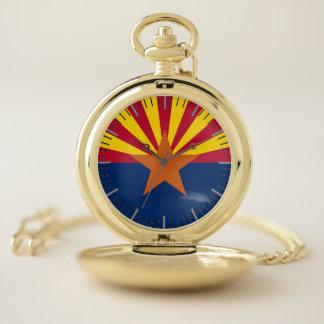 アリゾナ、米国の旗が付いている愛国心が強い壊中時計 ポケットウォッチ