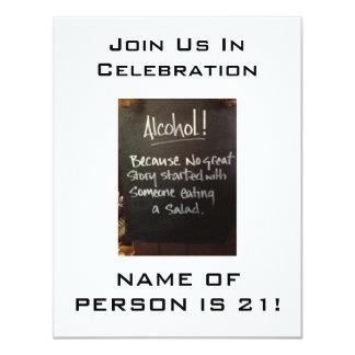 アルコールユーモア第21誕生日のパーティの招待状 カード