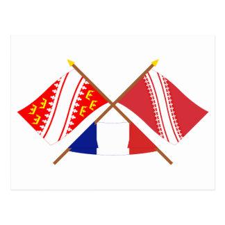 アルザスおよびBas-Rhinの交差させた旗 ポストカード