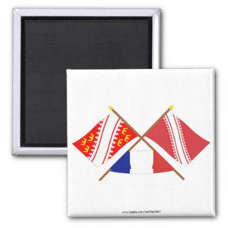 アルザスおよびBas-Rhinの交差させた旗 マグネット