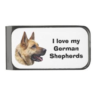 アルザスのジャーマン・シェパード犬のポートレート ガンメタルマネークリップ