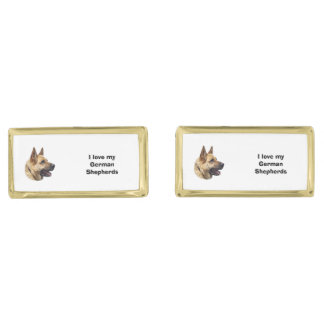 アルザスのジャーマン・シェパード犬のポートレート ゴールド カフスボタン