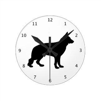 アルザスジャーマン・シェパード犬の黒のシルエット ラウンド壁時計