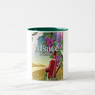 アルザスフランスの不精な午後のワインポスター ツートーンマグカップ