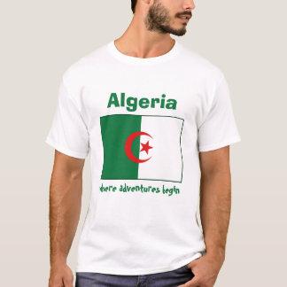 アルジェリアの旗 + 地図 + 文字のTシャツ Tシャツ