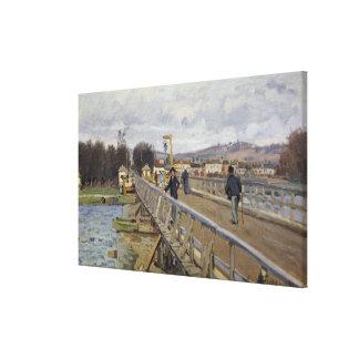 アルジャントゥーユのアルフレッド・シスレー|の歩道橋 キャンバスプリント