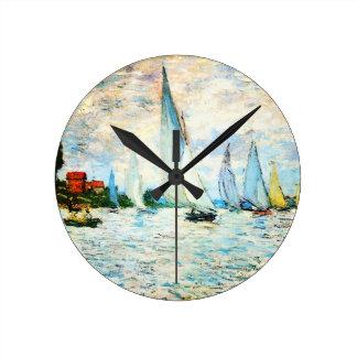 アルジャントゥーユのクロウドのMonetレガッタ ラウンド壁時計