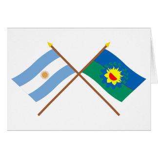 アルゼンチンおよびブエノスアイレスによって交差させる旗 カード