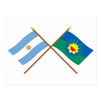 アルゼンチンおよびブエノスアイレスによって交差させる旗 ポストカード