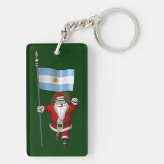 アルゼンチンの旗を持つサンタクロース キーホルダー