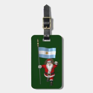 アルゼンチンの旗を持つサンタクロース ラゲッジタグ