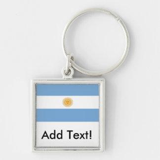 アルゼンチンの旗 シルバーカラー正方形キーホルダー