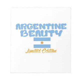 アルゼンチン人の美しいのデザイン ノートパッド