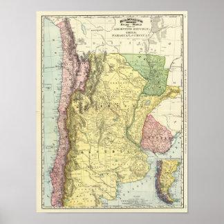 アルゼンチン、チリ、パラグアイ、ウルグアイ ポスター