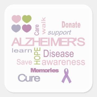 アルツハイマー病の認識度のステッカー スクエアシール