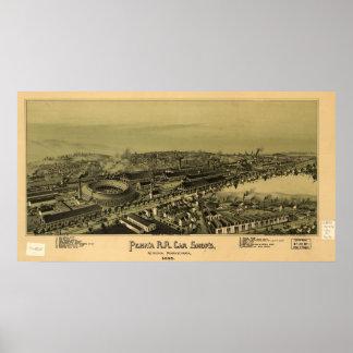 アルトゥーナペンシルバニア1895の旧式なパノラマ式の地図 ポスター