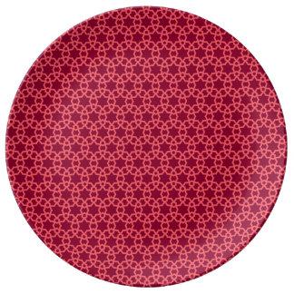 アルハンブラの赤い幾何学的な磁器皿 磁器プレート