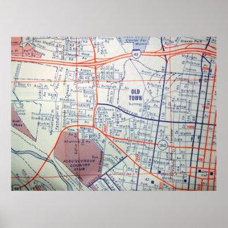 アルバカーキのNMのヴィンテージの地図ポスター ポスター