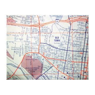 アルバカーキのNMのヴィンテージの地図 キャンバスプリント