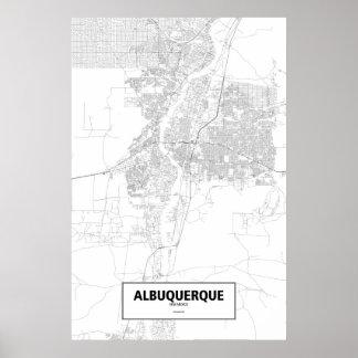 アルバカーキ、ニューメキシコ(白の黒) ポスター