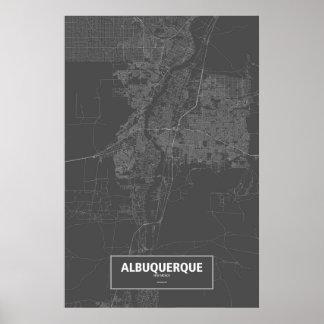 アルバカーキ、ニューメキシコ(黒で白い) ポスター