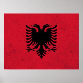 アルバニアのグランジな旗 ポスター