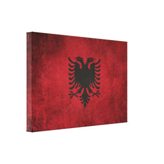 アルバニアのヴィンテージの動揺してな旗 キャンバスプリント