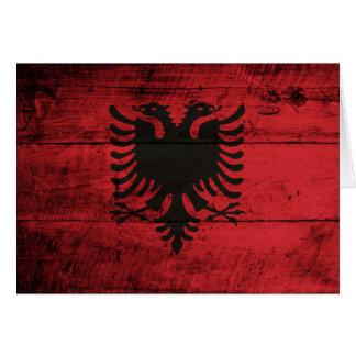 アルバニアの古い木の旗 カード