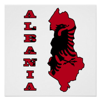 アルバニアの地図の旗 ポスター