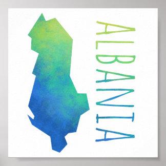 アルバニアの地図 ポスター