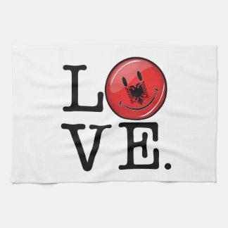 アルバニアの微笑の旗からの愛 キッチンタオル
