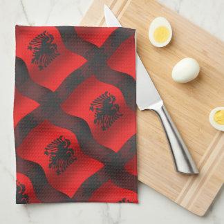 アルバニアの振る旗 キッチンタオル