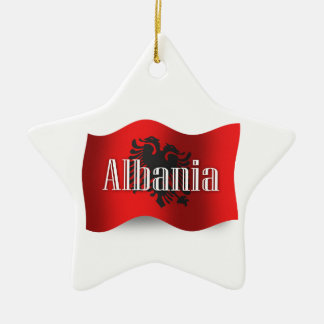 アルバニアの振る旗 セラミックオーナメント