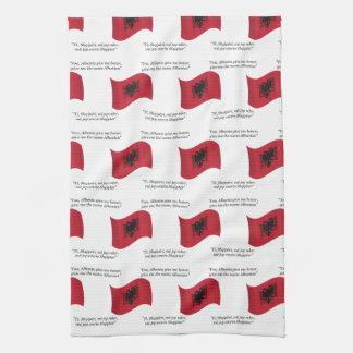 アルバニアの旗およびモットー キッチンタオル