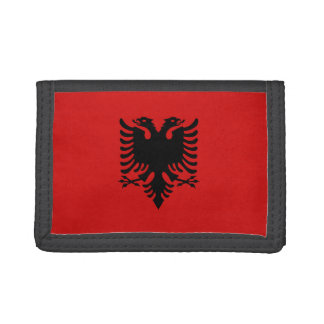 アルバニアの旗の財布 ナイロン三つ折りウォレット
