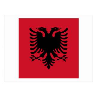 アルバニアの正方形の旗 ポストカード