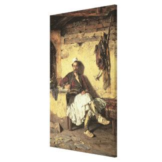 アルバニアの歩哨の休息(Arnaueti) (canvaの油 キャンバスプリント