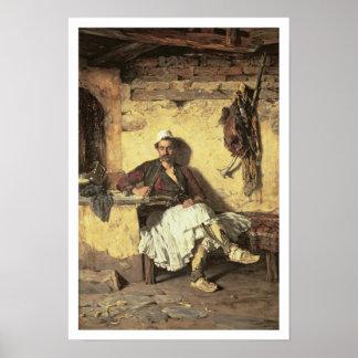 アルバニアの歩哨の休息(Arnaueti) (canvaの油 ポスター