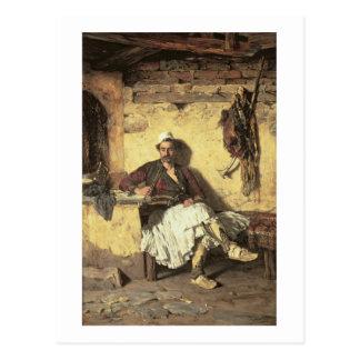 アルバニアの歩哨の休息(Arnaueti) (canvaの油 ポストカード