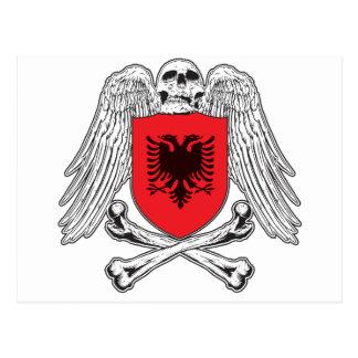 アルバニアの骨が交差した図形 ポストカード