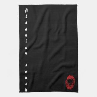 アルバニアのtouchの指紋の旗 キッチンタオル