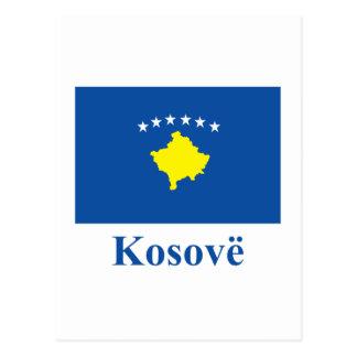 アルバニア語の名前のコソボの旗 ポストカード