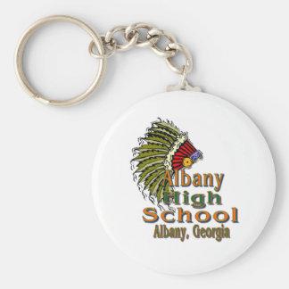 アルバニーの高等学校Keychain ベーシック丸型缶キーホルダー