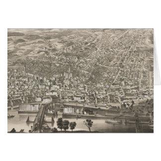 アルバニーニューヨーク(1879年)のヴィンテージの絵解き地図 カード