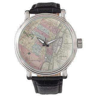 アルバニーNY (1874年)のヴィンテージの地図 腕時計